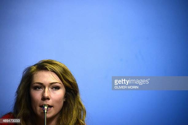 Skier Mikaela Shiffrin speaks during a press conference at the Gorki press center in Rosa Khutor during the Sochi Winter Olympics on February 15,...