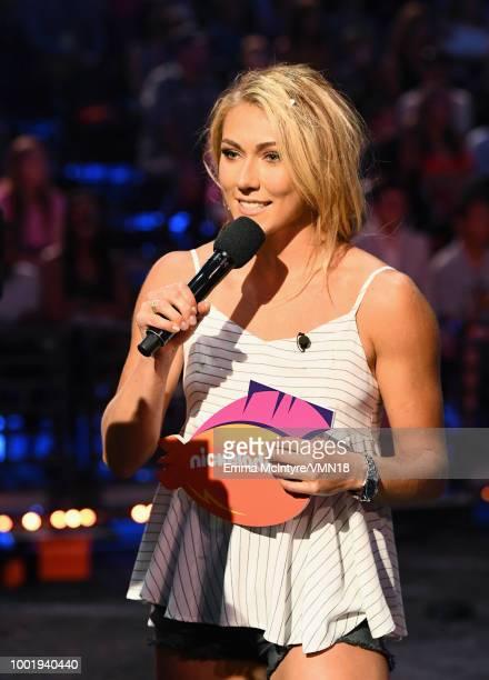 Skier Mikaela Shiffrin speaks onstage during the Nickelodeon Kids' Choice Sports 2018 at Barker Hangar on July 19 2018 in Santa Monica California