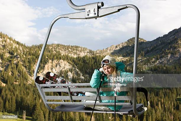 skier on a ski lift during the summer