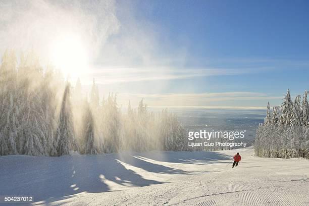 Skier on Grouse Mountain Ski Hills, Vancouver, BC