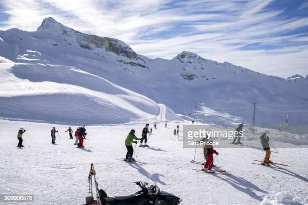 Skier on slope in Plateau Rosa, Switzerland.