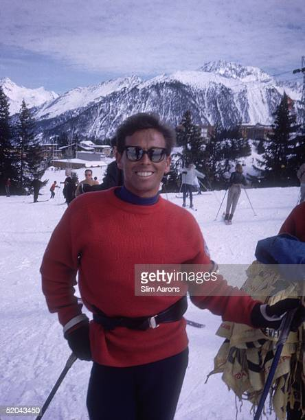 A skier on the slopes at Courchevel in France 1963