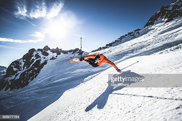 Skier Richard Permin is photographed for Sport & style on November 18, 2015 in Tignes, France.