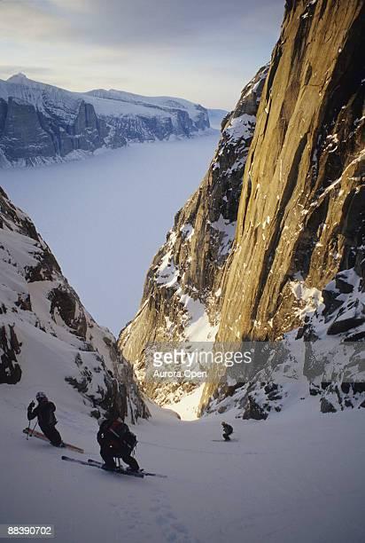 skier skiing on baffin island,canada - バフィン島 ストックフォトと画像