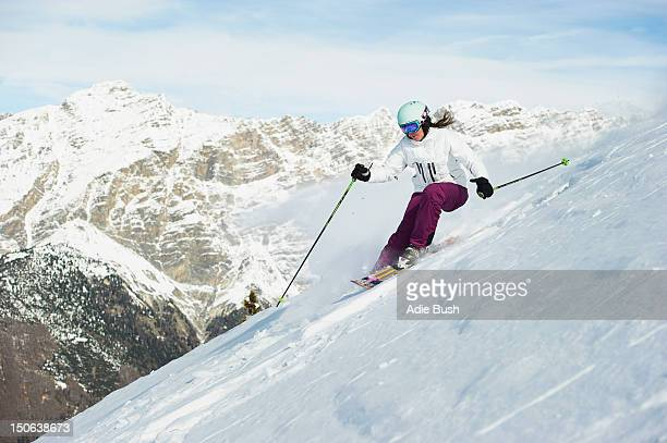 Skier skiing on snowy slope