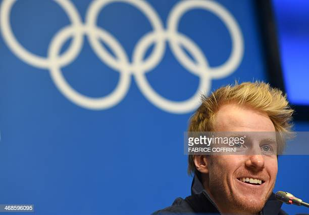 US skier Ted Ligety smiles during a press conference three days before of competing in the Men's Alpine Skiing Super Combined event of the Sochi...
