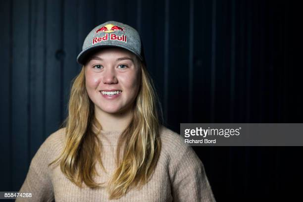 Skier Tess Ledeux of France poses for a portrait during the Sosh Big Air qualifications on October 6 2017 in Annecy France