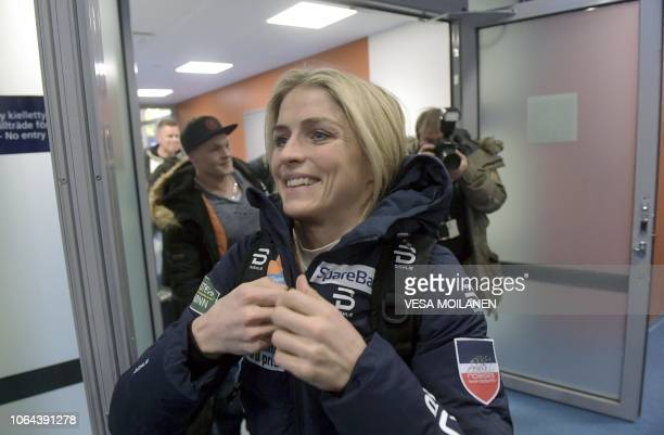 Skier Therese Johaug of Norway arrives at Kuusamo Airport before the FIS Nordic Skiing World Cup in Ruka Finland on November 23 2018 / Finland OUT