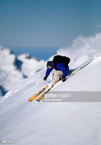 Skier turning down a snow slope