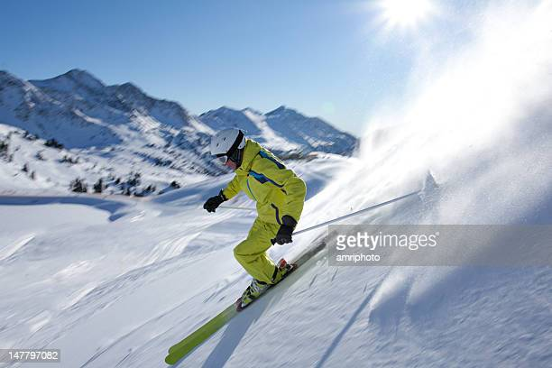 skier with motion blur off track