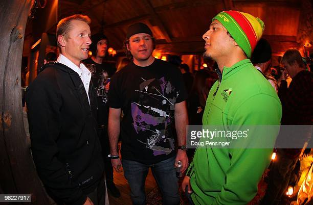 Skier X athletes Daron Rahlves of the USA Chris Del Bosco of Canada and Errol Kerr of Jamaca attend the Oakley/Red Bull Party prior to Winter X Games...