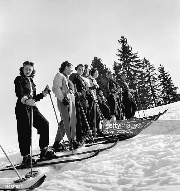 Skiers, 1936 in Megeve, France.
