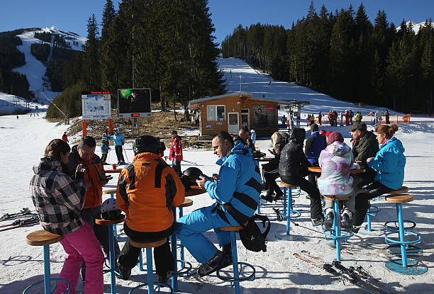 Skiers and Snowboarders at Bankso Ski Resort