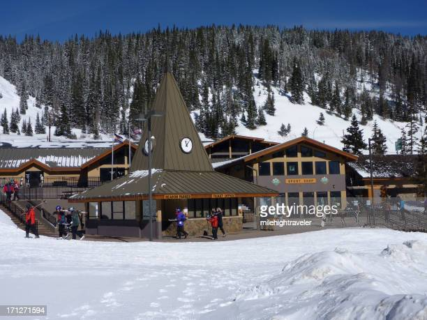 Skiers and ticket office Loveland Resort Colorado