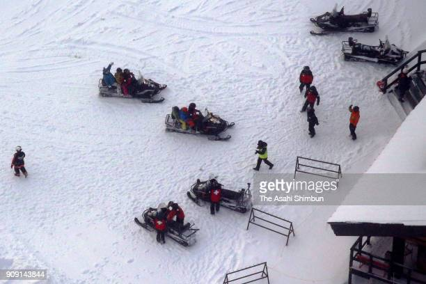 Skiers are rescued from the ropeway summit station where they fled to after the eruption on January 23 2018 in Kusatsu Gunma Japan KusatsuShirane a...
