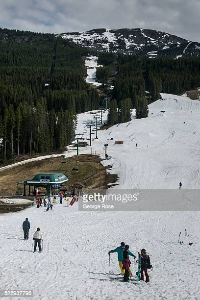 Skiers at Lake Louise Ski Resort enjoy the last week of skiing before it closes for the season as viewed on April 23 2016 at Lake Louise Alberta...