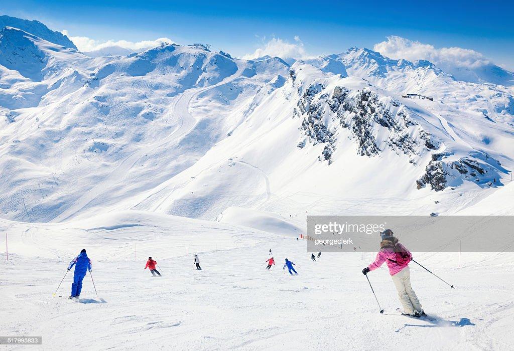 Skiers at Meribel in the Three Valleys : Stock Photo