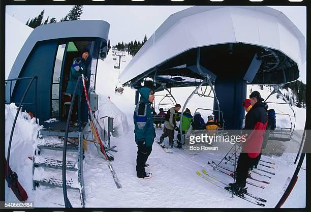 Skiers at Ski Lift