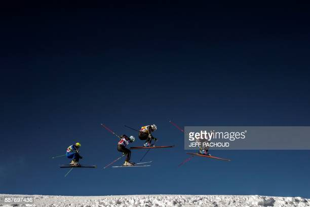TOPSHOT Skiers compete during the FIS Men Ski Cross World Cup qualifying session on December 7 2017 at the ValThorens ski resort in the French Alps...