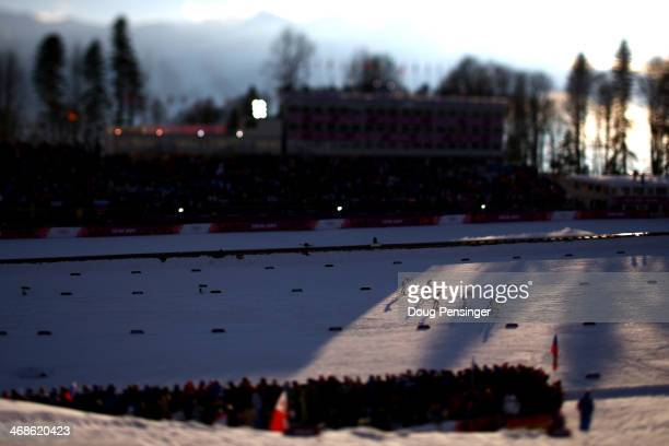 Skiers compete in Finals of the Ladies' Sprint Free during day four of the Sochi 2014 Winter Olympics at Laura Crosscountry Ski Biathlon Center on...