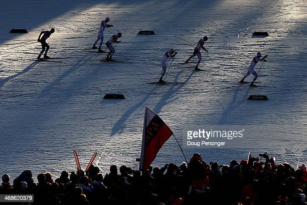 Skiers compete in Finals of the Men's Sprint Free during day four of the Sochi 2014 Winter Olympics at Laura Crosscountry Ski Biathlon Center on...
