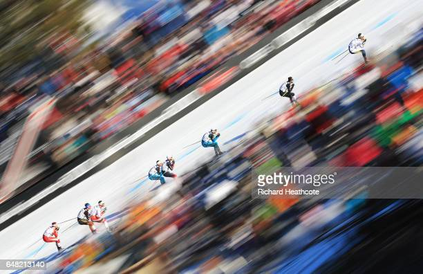 Skiers compete in the Men's Cross Country Mass Start during the FIS Nordic World Ski Championships on March 5 2017 in Lahti Finland