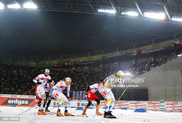 Skiers compete in the Women's Cross Country Skiing Individual Spring Classical during day one of the FIS Nordic World Ski Championships 2007 at...