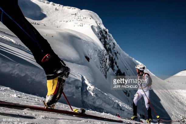 Skiers compete on March 14 2018 during the first stage of the 33rd edition of the Pierra Menta ski mountaineering competition in ArechesBeaufort /...