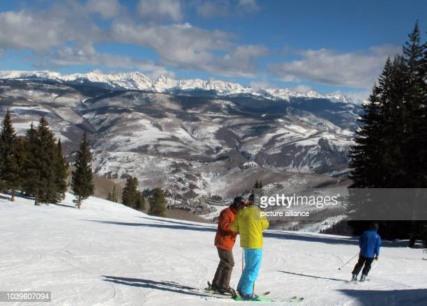 Skiers enjoy the view on the Rocky Mountains in Beaver Creek during the Alpine Skiing World Championships in Vail - Beaver Creek, Colorado, USA, 11...