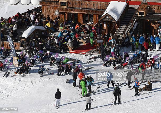 Skiers gather at the Val Thorens ski resort on the opening weekend of the skiing season on November 22 2014 at Val Thorens in the French Alps AFP...
