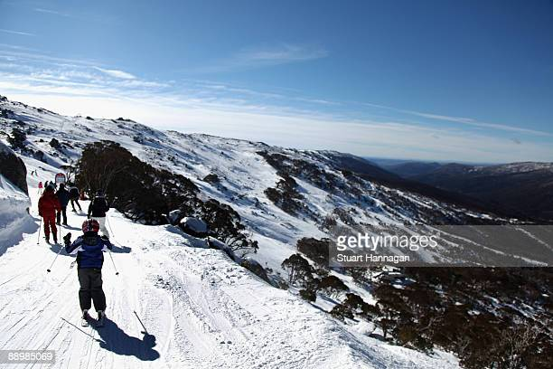 Skiers head off on the Eagle way on July 6, 2009 in Thredbo, Australia. Thredbo ski fields are 500km's from Sydney and Melbourne and set within the...