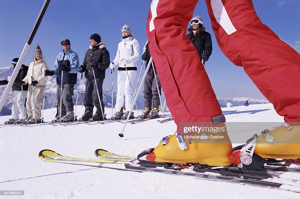 Skiers in a Line : Stock Photo