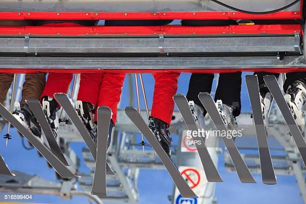skiers in a ski lift at Berwang