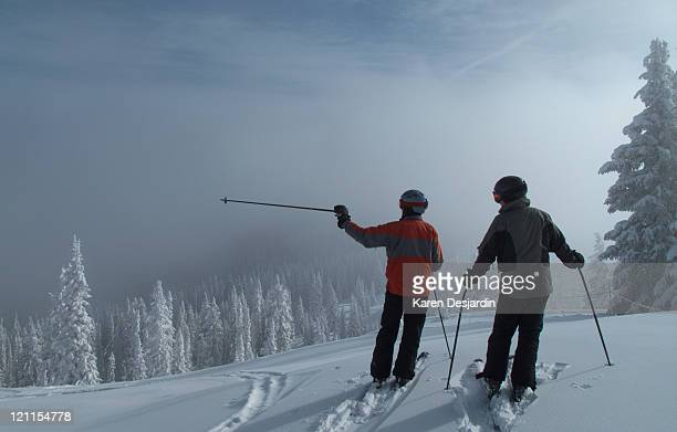 skiers in powder snow, colorado - steamboat springs colorado - fotografias e filmes do acervo