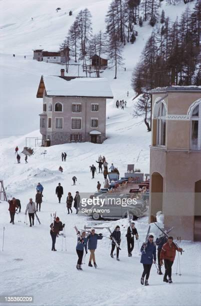 Skiers in St Moritz Switzerland March 1963