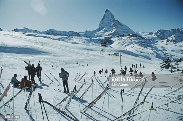 Skiers in Zermatt Switzerland March 1968