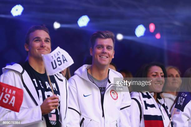 Skiers Nick Goepper and Alex Deibold along with bobsledder Elana Meyers Taylor attend the 100 Days Out 2018 PyeongChang Winter Olympics Celebration...