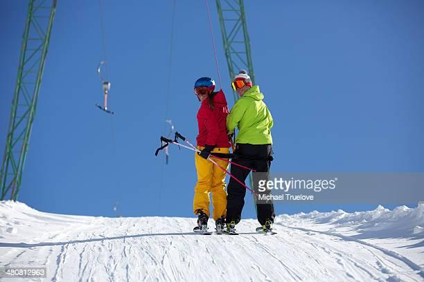 Skiers on draglift in Kuhtai , Tirol, Austria