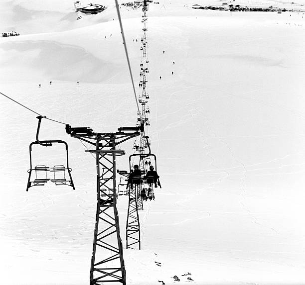 Skiers on ski lifts, Farellones, Santiago