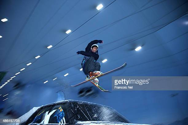 Skiers take part in a special themed 'Freestyle Night Goes Mutant' event to promote 'X Men Days Of Future Past' at Ski Dubai on April 24 2014 in...