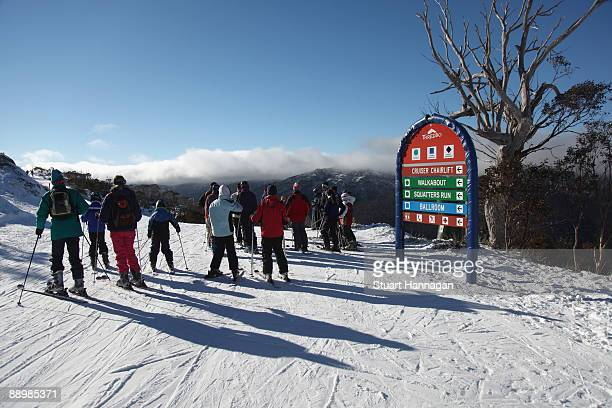 Skiers take time out to look at the view as they head down towards Merritts on July 7, 2009 in Thredbo, Australia. Thredbo ski fields are 500km's...