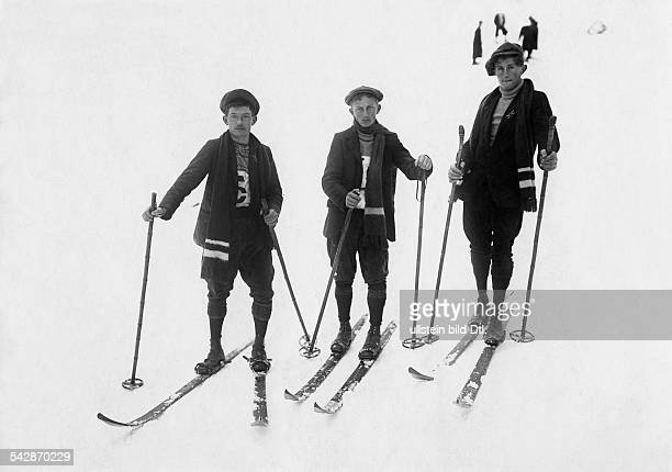 Skiers winter sports Members of the Russian squad who won the international 15kilometer crossskiing competition of the Club Alpin France 1913 Vintage...