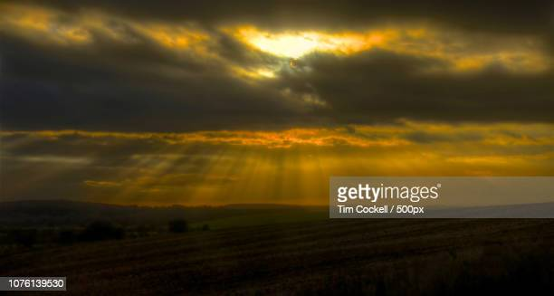 skies at chesterton warwickshire - chesterton stock photos and pictures