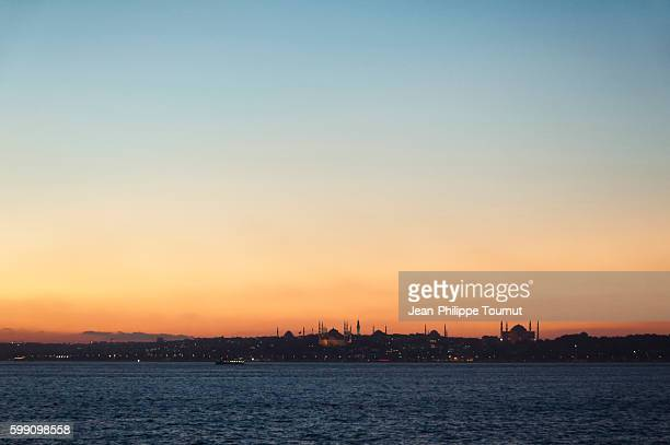 Skies of Istanbul, Panoramic view of Istanbul at dusk from Asia