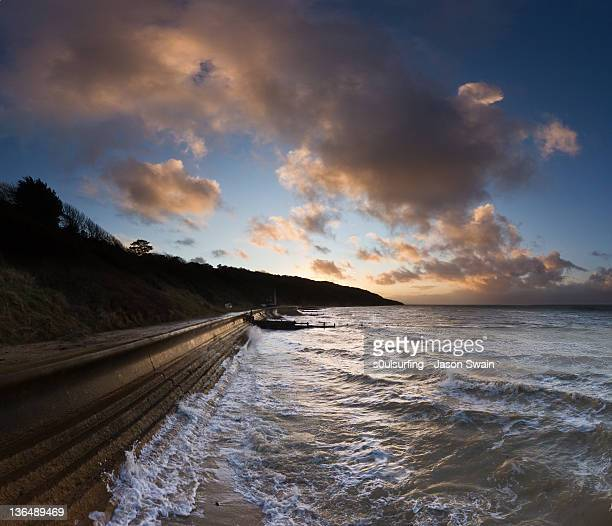 skies over totland bay - s0ulsurfing stock pictures, royalty-free photos & images