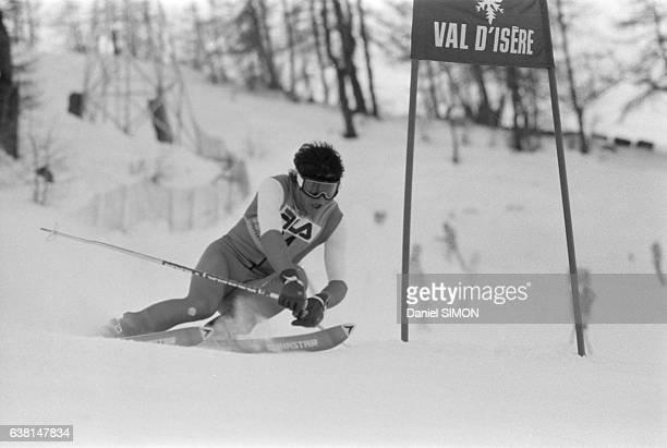 Skieur lors du criterium international de la première neige à Val d'Isère France du 2 au 8 décembre 1979