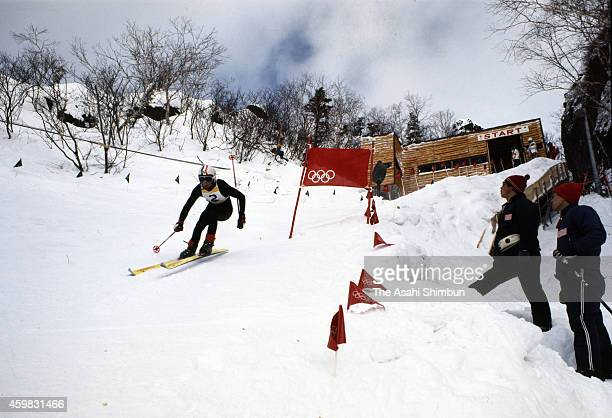 A skiier competes in the Men's Downhill during the 1972 Sapporo Winter Olympics at Mt Eniwa Apline Skiing Course on February 7 1972 in Eniwa Hokkaido...