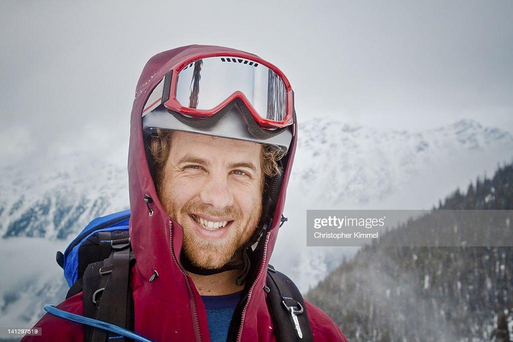 Skiier wearing helmet : Stock Photo