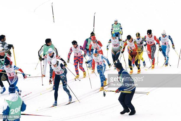 Skiiers compete in the Cross Country Skiing Women's 4x5km Relay during day nine of the Nagano Winter Olympic Games at Snow Harp on February 16 1998...