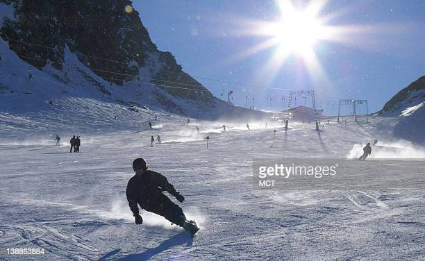 Skiiers on the slopes at Soelden Austria
